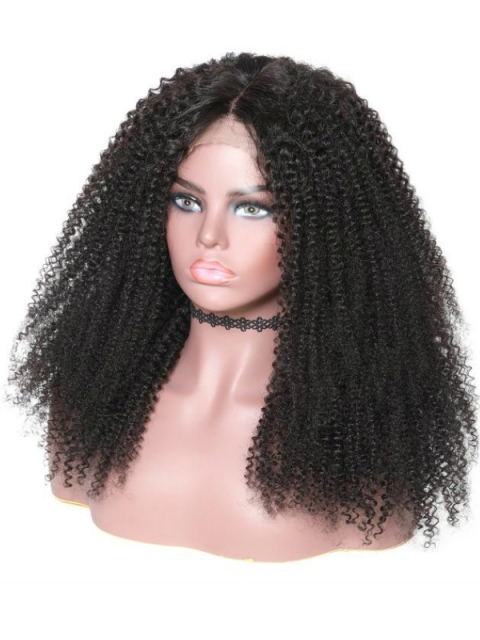 10-22 inches kinky curly indian remy lace front human hair wig