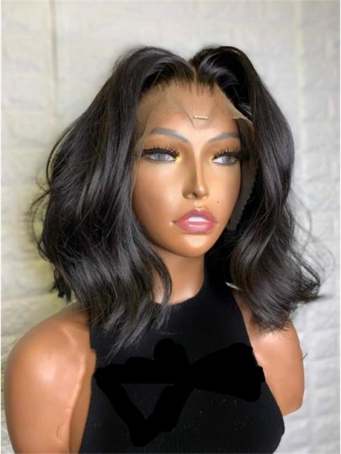 Perfect human hair lace frontal wig with wand curls-LW169