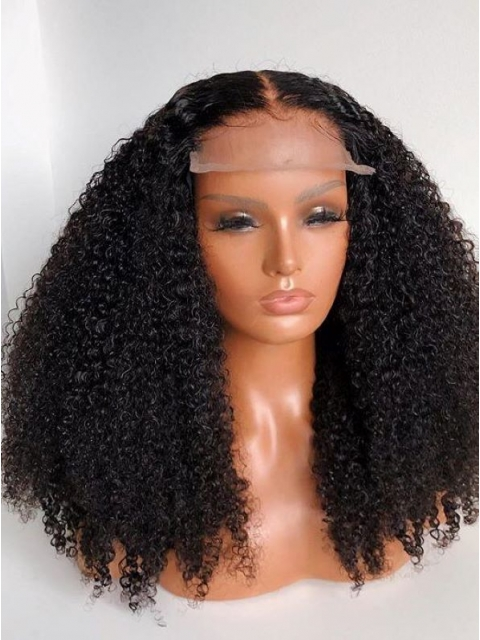 NO MORE GRIDS- More Natural 5*5 Lace Closure Human Hair  Invisi-Scalp Curly Wig-IS001