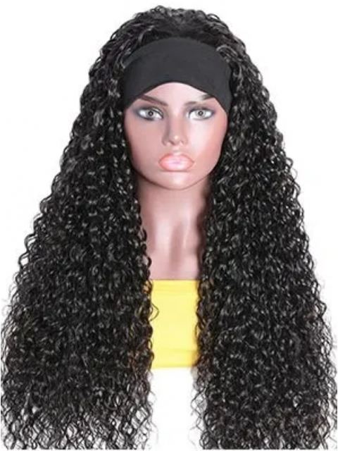 New Protective Style For Black Natural Hair-150% density Quick Fix Elegant Spiral Curls Headband Wig For Last Minute Problems-HW004