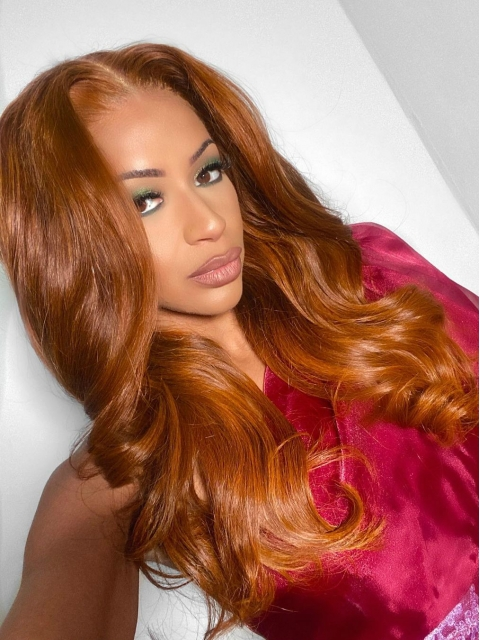 Hairstylist Collection-Tequila Sunrise--New gorgeous 13*5 T-part lace frontal warm orange color wig with wand curls-CCW003