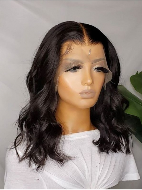 New Indian remy wavy13*4 three-way-parting lace front human hair wig-LW189
