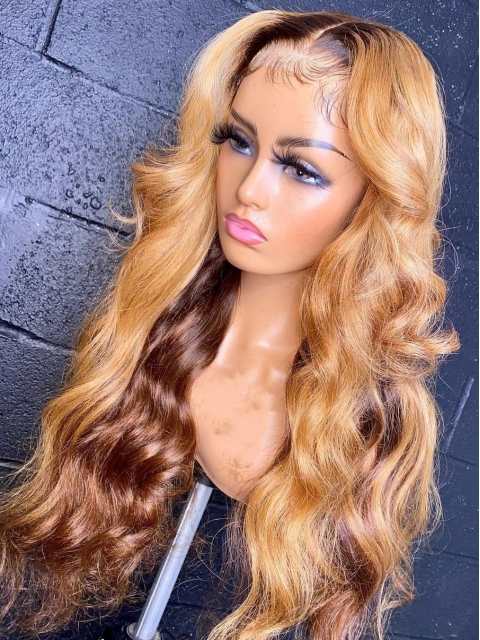 Hairstylist Collection-MAI-TAI-New gorgeous 13*5 T-part lace frontal straight hightlight golden&brown  wig with wand curls-CCW010
